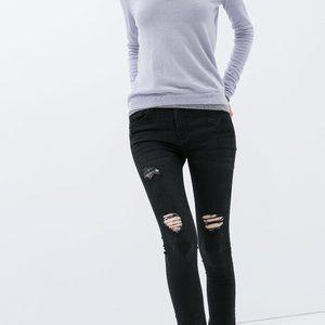 Zara destroyed/ripped black denim, raw hem jeans